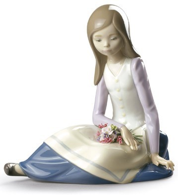 Contemplative Young Girl Figurine