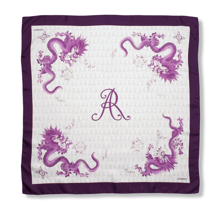 Scarf in 100% silk, Violet Dragon, 90x90 cm