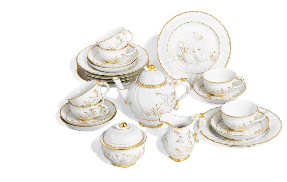 Чайный сервиз лебединый дизайн «Каподимонте»