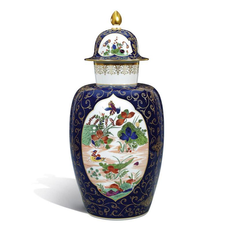 Ваза с крышкой «Индийская живопись», кобальт синий фон