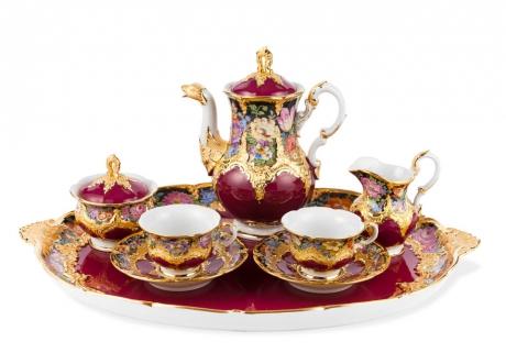 Кофейный набор на две персоны, пурпур, цветы