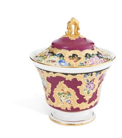 Sugar bowl, Flower painting, 19th century, purple glaze,