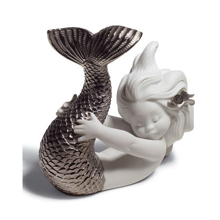 Playing at Sea Mermaid Figurine. Silver Lustre