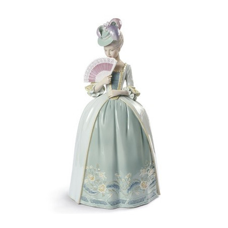 Porcelain Kisses Woman Figurine. Blue