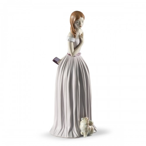 I'll Walk You to the Party Woman with Dog Figurine