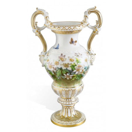 Baroque handled vase with wind anemones