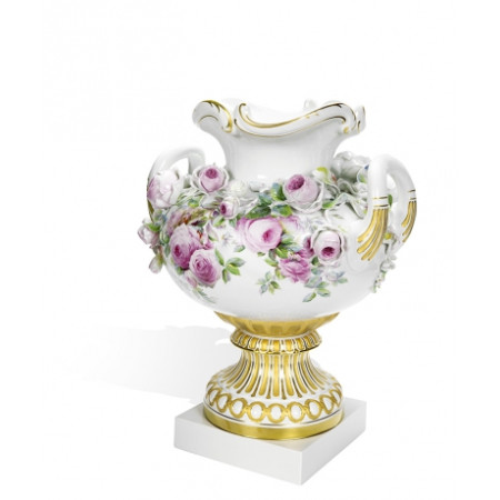 Vase with applied roses