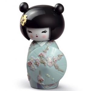 Японская кукла кокеши (бирюза)