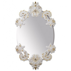 OVAL MIRROR WITHOUT FRAME (WHITE / GOLD)
