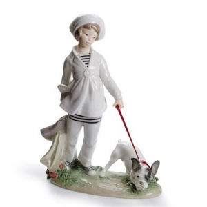 Girl with French Bulldog Figurine