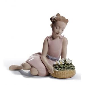 Flower Arrangement Girl Figurine