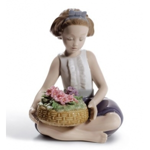 Arranging Flowers Girl Figurine