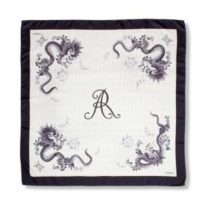 Scarf in 100% silk, Black Dragon, 90x90 cm