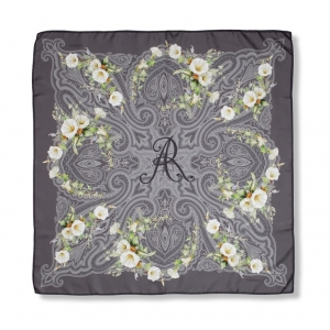 Scarf in 100% silk, Windlass, color gray with white flowers, 90x90 cm