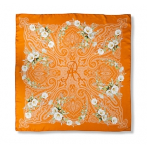 Scarf in 100% silk, Windlass, color orange with white flowers, 90x90 cm
