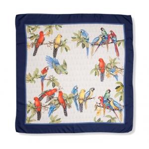 Scarf in 100% silk, Parrots, color ecrue with navy bordure, 90x90 cm