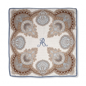 Scarf in 100% silk, Classic paisley design, in modern colors beige and light blue, 90x90 cm