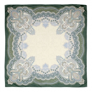 Grand foulard in 75% cotton/25% silk, Paisley, verde, 140 x 140 cm
