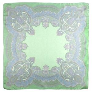 Scarf in 100% silk, Paisley pastello, verde, 90x90 cm