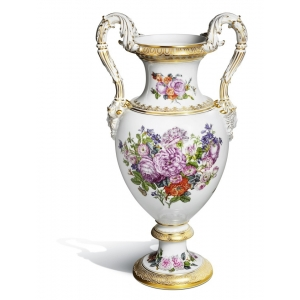 Vase with snake handles, Bouquet of Roses, H 52 cm