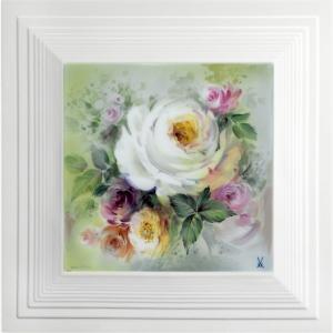 Картина, белые розы