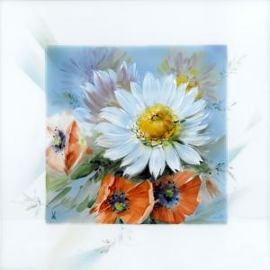 Картина, белые цветы и мак