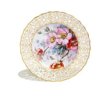 Plate, pierced, Flower painting after Prof. Braunsdorf,natural., lim.,num.,gold decor., ø 21 cm