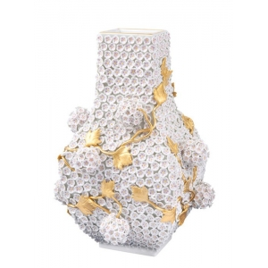Vase with Snowball Blossoms, H 25 cm
