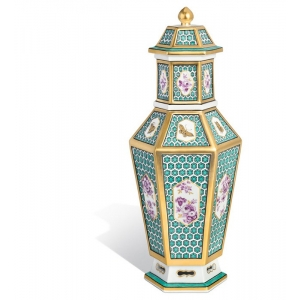 Vase mit lid with honeycomb relief, H 32 cm