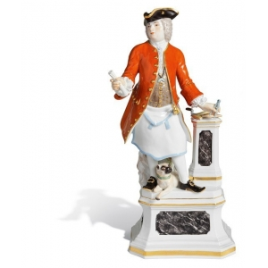 Freemason with pug, H 31 cm