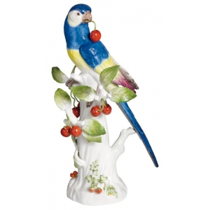 Parrot with cherries, Vintage, coloured, H 32 cm