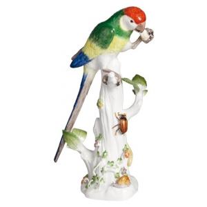 Попугай на стволе дерева, винтаж, красочные росписи