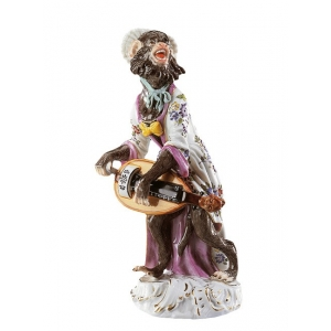 Barrel-organ pl. Monkey Band, coloured, with gold, H 14 cm