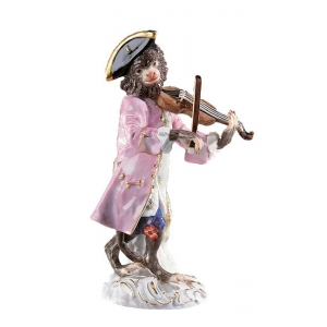 Violinist Monkey Band, coloured, with gold, H 13,5 cm