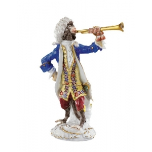 Trumpeter Monkey Band, coloured, with gold, H 14 cm