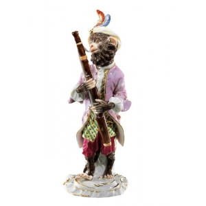 Bassoonist Monkey Band, coloured, with gold, H 14 cm