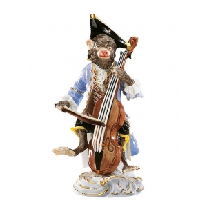 Bass fiddler Monkey Band, coloured, with gold, H 13 cm