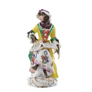 Singer, female Monkey Band, coloured, with gold, H 13 cm