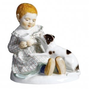 Child with dog, Coloured, without gold, H 12,5 cm