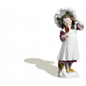 Girl w. cherries and mirror, Coloured, without gold, H 17,5 cm