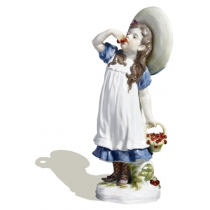 Girl w. cherries, Coloured, without gold, H 17 cm