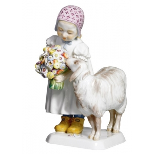 Girl with sheep, Coloured, without gold, H 16 cm