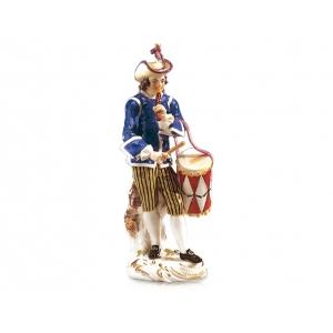 Drummer Paris pedlar, Coloured, with gold, H 14,5 cm