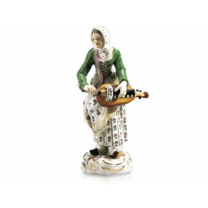Woman with lyre Paris pedlar, Coloured, with gold, H 14 cm