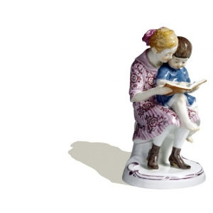 Two children with book, Coloured, without gold, H 13 cm