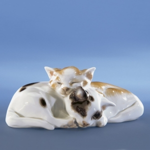 Pair of cats, Coloured, without gold, H 4,5 cm
