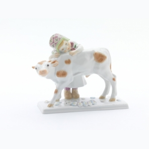 Girl with calf, Coloured, without gold, H 12 cm