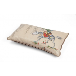 Hand-painted leather cushion
