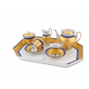 Чайный сервиз на две персоны, позолота и кобальт