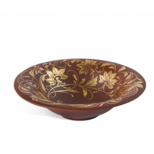 Глубокая тарелка с цветочным узором из позолоты